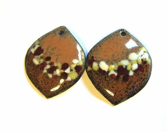 Enameled copper charms Brown enamel earring charms Jewelry making supplies Artisan earring components Earring findings Glass accents