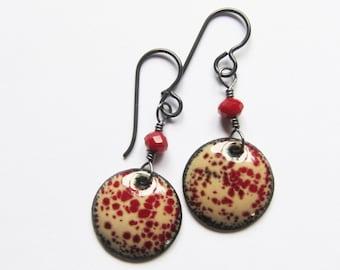Dainty dark red dangle earrings Boho hypoallergenic nickel free niobium earrings Colorful enamel earrings Enamel jewelry