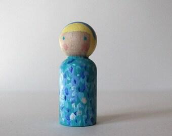 Peg Doll - Spring Doll - Mini Kokeshi Doll - Wooden Doll Waldorf Handpainted - Rain Maiden