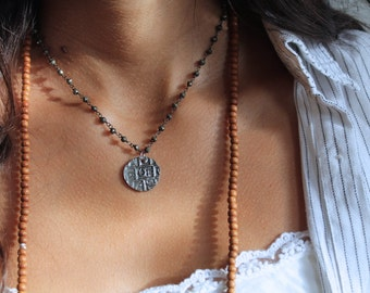 Antique silver coin necklace, Pyrite oxidized silver chain necklace, pyrite stone chain necklace, bhutan coin necklace, oxidized silver coin