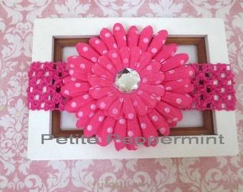 Pink Polka Dot Daisy Baby Headband, Baby Flower Headband, Baby Daisy Headband, Baby Headband, Baby Girl Headband, Baby Hair bow
