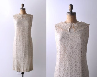 1960 lace shift dress. m. 60's cream dress. floral lace. sleeveless. 1960's medium dress.