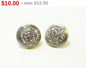 Rhinestone Button Earrings - Vintage Clear Stones on Silvertone - Clip Ons