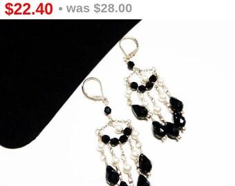 Vintage Sterling Chandelier Earrings for Pierced Ears - Black Glass Bead & White Faux Pearl Chains