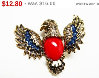 Red White Blue Eagle Brooch - Patriotic Bird Pin Signed Gerrys - Goldtone Red Cabochon, White & Blue Enamel