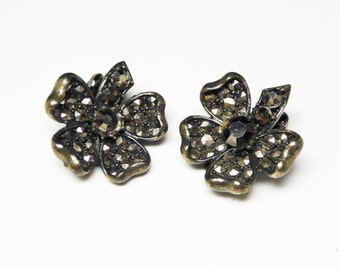 Black Marcasite Earrings - Clip on Flowers - Floral Jewelry - Black Gothic Flower - Vintage Dogwood - 1980's - 1990's - Rhinestone Earrings