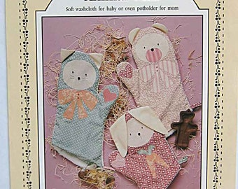 Cat, Bunny or Bear Animal Mitts Washcloth for Child or Oven Potholder for Mom Sewing Pattern by Prairie Farm Design UNCUT