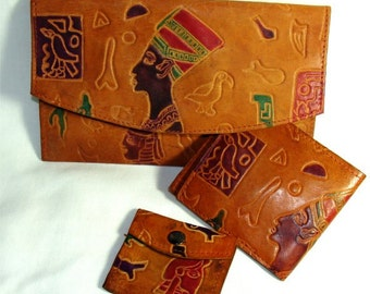 Vintage Soft LEATHER 3 Pc Wallet Set w/ Eqyptian Queen NEFRETITI