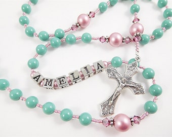 Personalized Swarovski Rosary in Turquoise and Pink Rose- Baptism, First Communion Gift for a Baby Girl