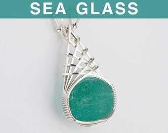 Persian Green Sea Glass Marble Pendant
