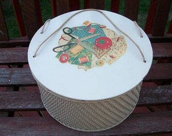 Vintage Adorable Princess Wicker Sewing Basket with Decal 50's Decor