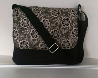 Messenger - Black Canvas and Downton Abbey Fabric.