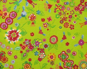 cotton fabric by the yard -floral print on lime green - 1 Yard ctnp298