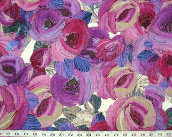 floral print silk fabric - floral print in pinks and purples - msc142