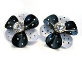 Black White Polka Dot Clip Earrings Vintage Avon Rhinestone Clip On Earrings Gift for Mom Gift for Her