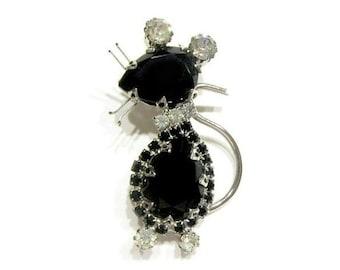 Vintage Black Rhinestone Mouse Brooch Black Clear Rhinestone Pin Large Figural Pin
