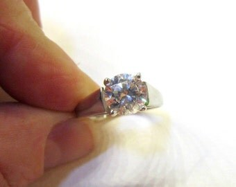 Sterling CZ Ring Brilliant Quality Cubic Zirconia Sparkle Silver CZ Ring Size 9