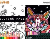 50% Off- cat and bird coloring, cats coloring book, adult coloring book, coloring pages, adult coloring pages, coloring book for adults