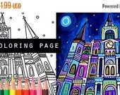 60% Off Today- St. Louis Cathedral Mardi Gras French Quarter coloring, New Orleans coloring book, adult coloring book, coloring pages