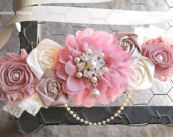 Maternity Sash, Pink Girl Maternity Sash, Pink Maternity Sash, Vintage Maternity Sash, Vintage Pink, Dusty Pink, Taupe & Ivory