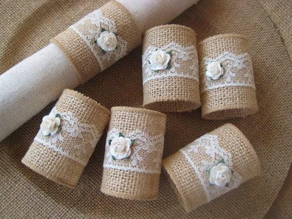 Burlap Napkin Rings, Rustic Napkin Rings, Burlap & Lace Napkin Rings ...
