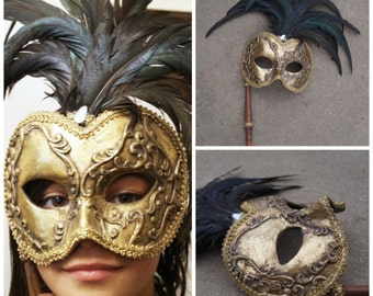 Kleski mask ~ ornate gold masquerade mask ~ mardi gras mask ~ feathered mask ~ Halloween~ Victorian mask ~ Baroque Rococo stick handle mask