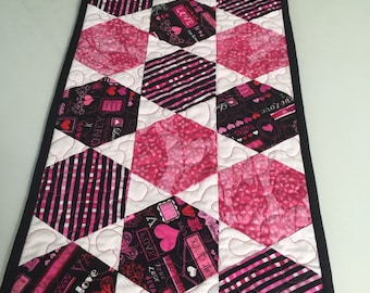 Valentine Hexagon Quilted Table Runner