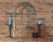 Dark Stained Vintage Inspired Arch Window Frame Wood Cut Wall Art Sign Decor