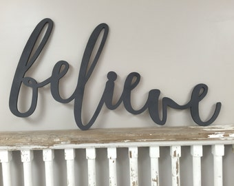 Large Painted Believe Christmas Word Wood Cut Wall Art Sign Decor