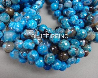 32 pcs 12mm round faceted blue fired agate beads