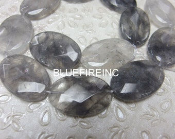 "One full strand 20X30mm Quartz Gemstone,Clear & Grey,Faceted 20X30mm, hole 1mm,16"" long"