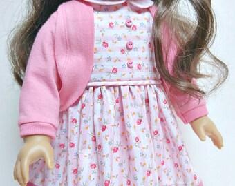 Sleeveless Dress, Shrug Cardigan, Capri Leggings fits 18 inch doll clothes