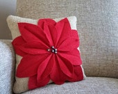 small decorative burlap pillow with flower from vintage wool and buttons
