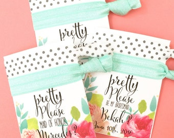 Pop the Question Hair Tie Party Favor Card KIT Will You Be My Bridesmaid Maid of Honor Matron Flower Girl Floral Print Card Pretty Please