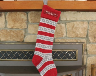 SIZE A Red/Gray Stripe (28-29'' Long) --- Knitted Pottery Barn --- Free Monogram --- Fair Isle Stocking