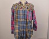 90s vintage flannel shirt pastel embroidered Motherhood Maternity oversize top grunge hipster women Medium Large