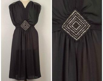 Sheer Black Disco Dress 70s vintage flowy sequin chiffon roman grecian midi dress large