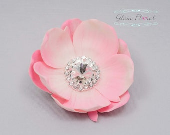 Real Touch Anemone Hair Clip .  Pink Real Touch Flower Hair Clips with rhinestone