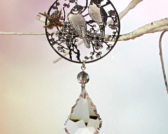 Bird Filigree, Crystal Prism Sun Catcher & Xmas Ornament, S1-14