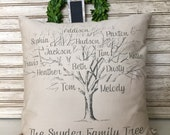 Mother's Day Gifts | Family | Family Sign |  Family Name Sign | Family Tree Pillow Personalized with Names and Est. Date - Insert Included