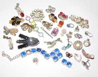 Vintage Destash Jewelry Lot Flower Power Rhinestones single earrings charms pins and more