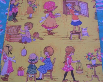 charming children yellow wrapping paper