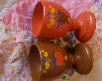 two little wooden egg cups
