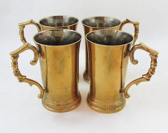 Set of Four Vintage Brass Goblets