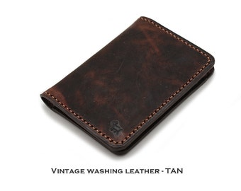 Vintage Washing Italian Genuine Leather Slim Wallet in VINTAGE TAN {Hand Stitched}