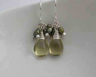 Olive Quartz and Pearl Drop Earrings