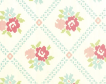 White Vintage Picnic Fabric Bonnie & Camille Fabric White Cross Stitch Fabric  - By The 1/2 Yard