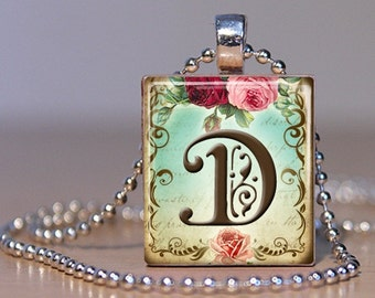 Vintage Monogram Letter D with  Roses - Pendant made from an Upcycled Scrabble Tile (171)