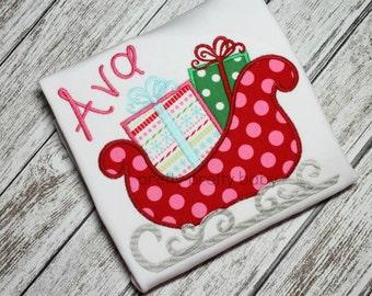 pretty cute sleigh with presents applique shirt