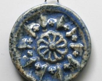 Handcrafted Ceramic Blue Pendant